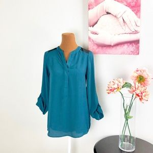 MOSSIMO | Teal And Black V-Neck Blouse